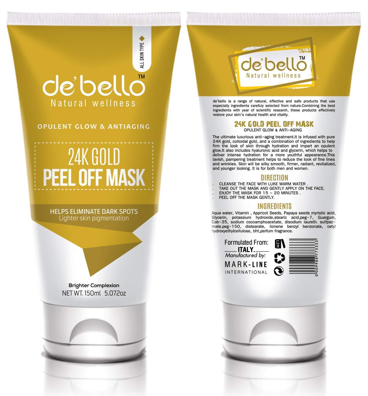 De'bello 24K Gold Peel Off Mask 150 ml Best Face Mask in Pakistan
